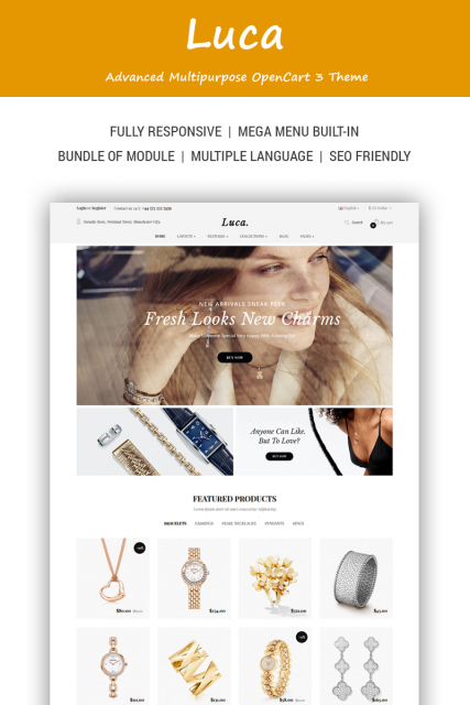 """My Jewelry"" Multipurpose OpenCart Template"