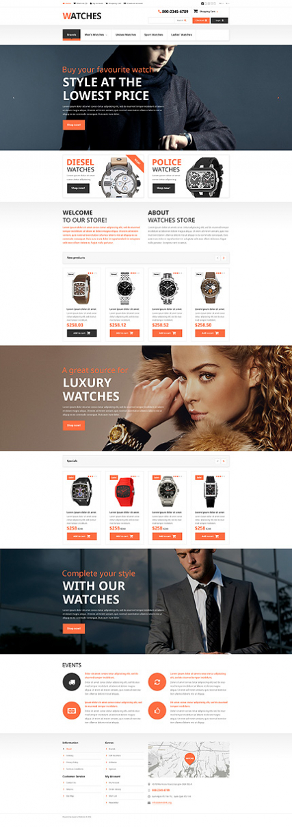 Brand Watches OpenCart Template