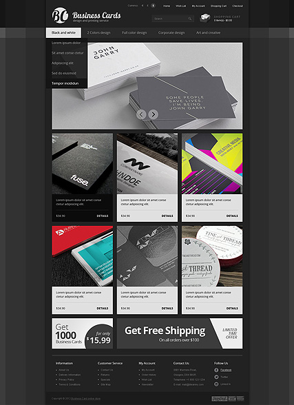 Business cards web template
