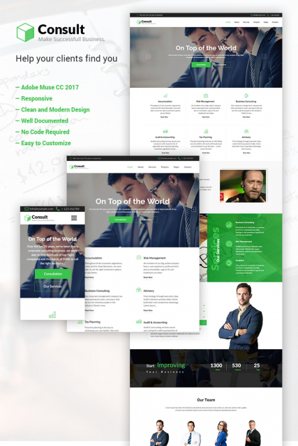 """Business Consulting"" Adobe CC 2017 Muse Template"