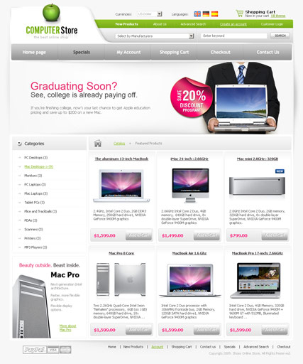 Computers store web template