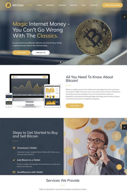 """Crypto Currency Exchange and Mining"" website HTML template"