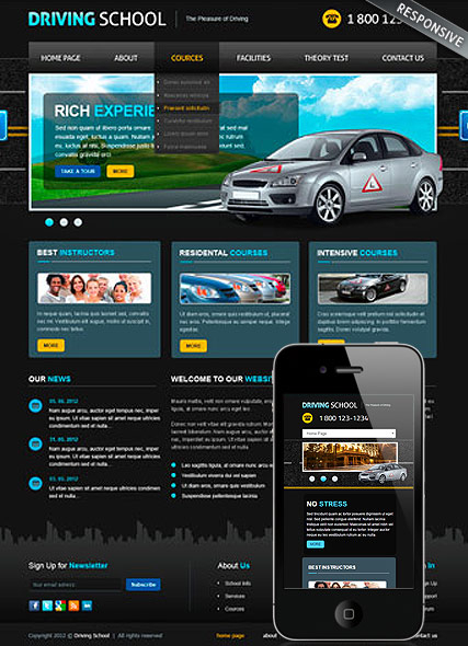 Driving School v3 web template