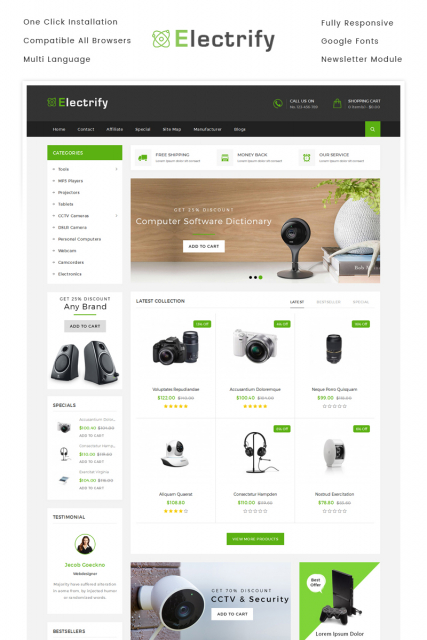 Electrify Store OpenCart Template