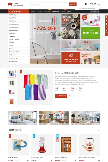 """Everything for home"" Furniture OpenCart 3 Template"