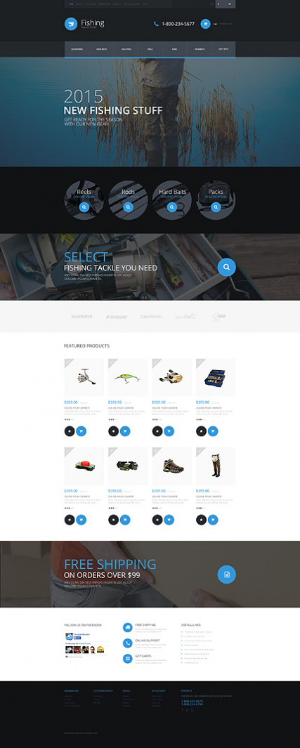 """Fishing Equipment Store"" OpenCart template"