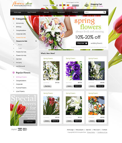 Flowers store web template
