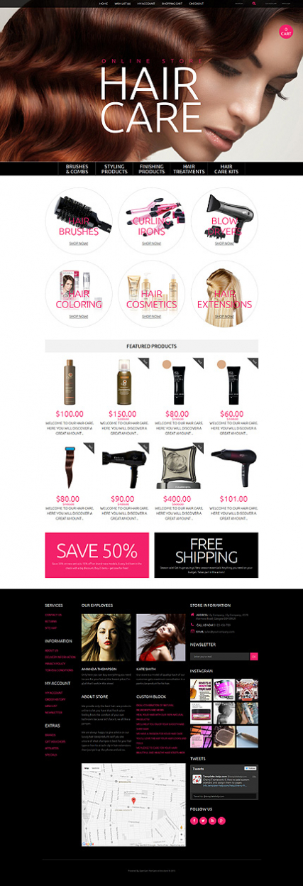 Hair Care OpenCart Template