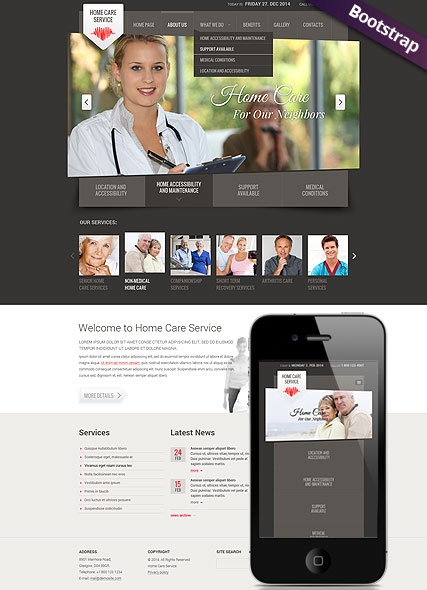 Home care service web template