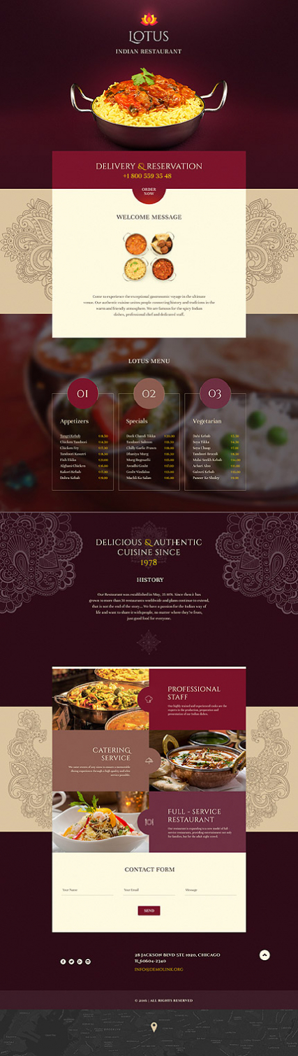 Indian Restaurant Responsive Landing Page Template