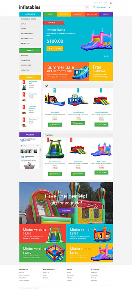 Inflatables OpenCart Template