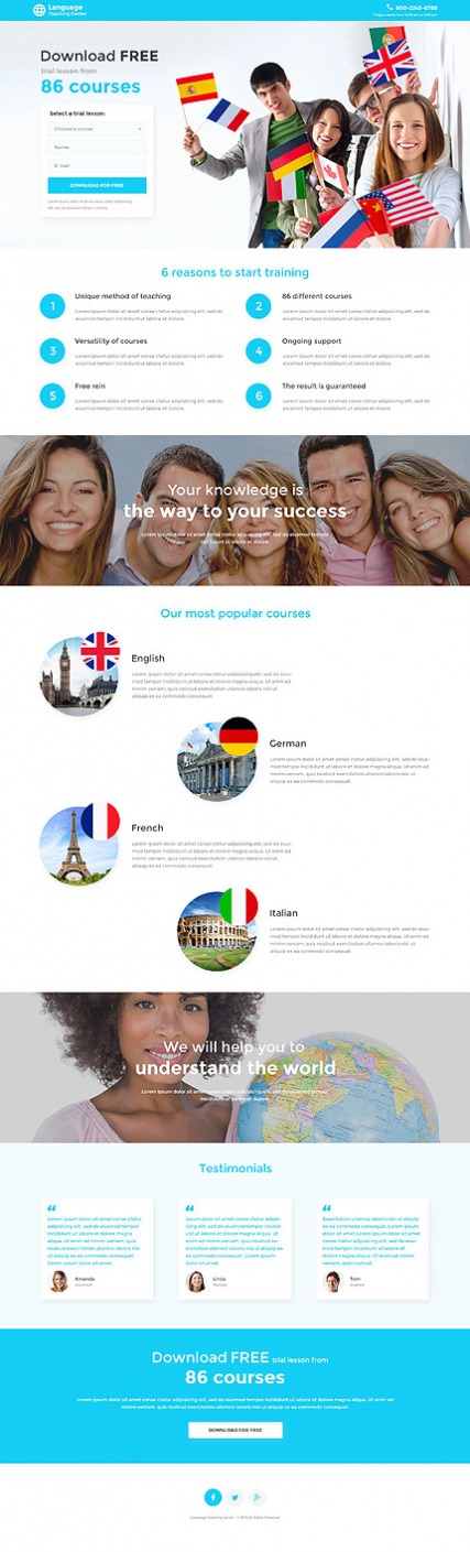 Language School Responsive Landing Page Template
