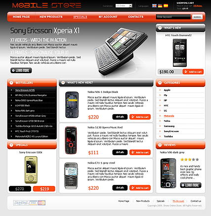 Mobile Store web template