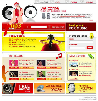 mp3 portal web template