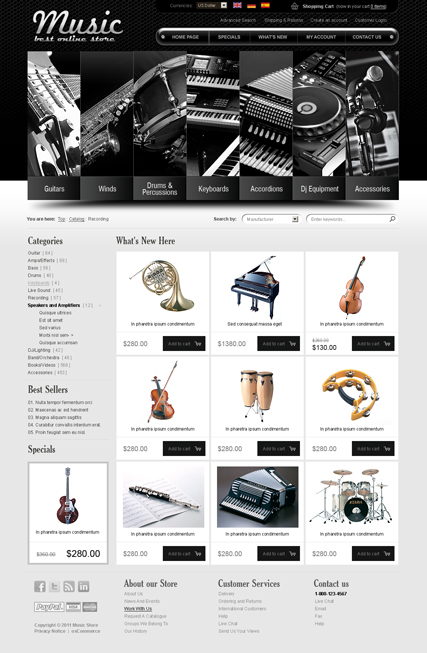 Music instrument v2.3 web template