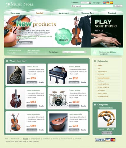 Music Store web template