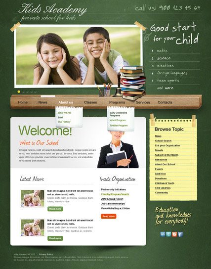 My School v2.5 web template