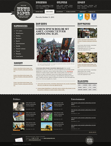 Newspaper web template