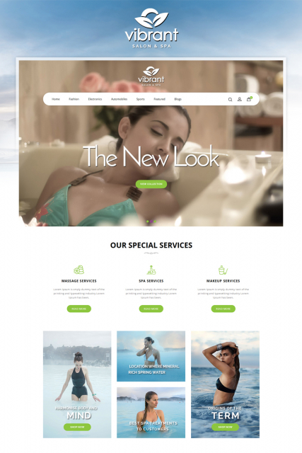 """Vibrant Spa and Salon Store"" OpenCart 3 template"