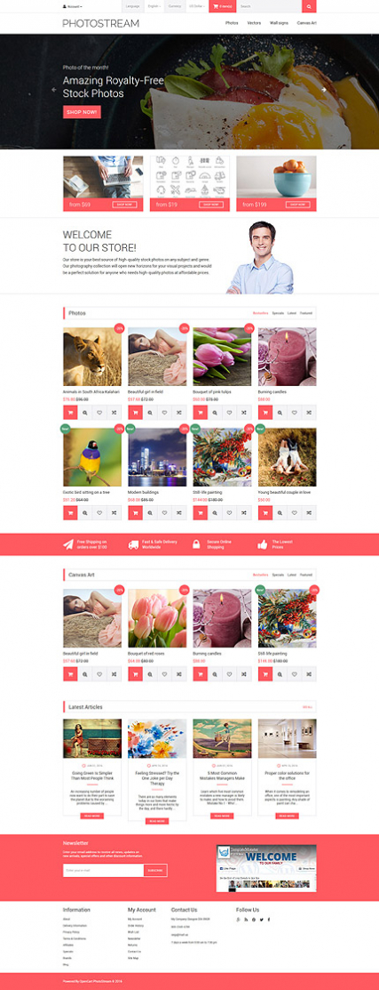 Photostream OpenCart Template