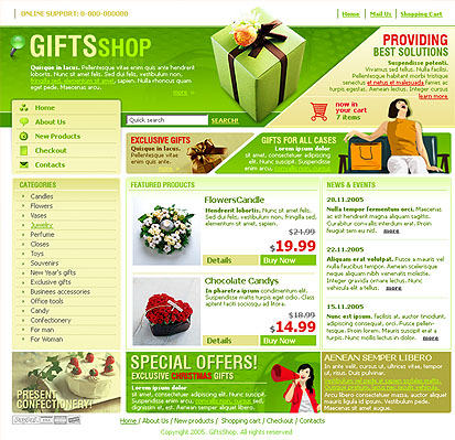 Presents web template