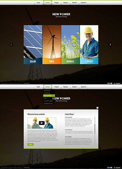 Renewable energy web template