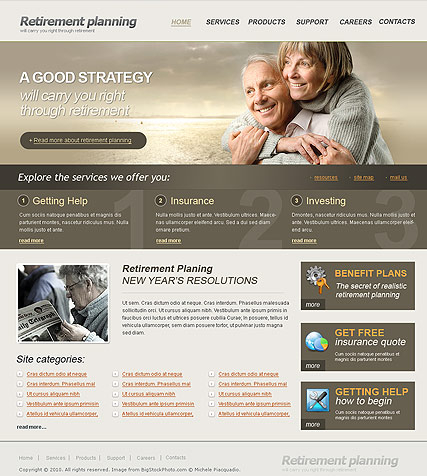 Retirement Planning web template