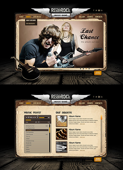 Rock Band web template