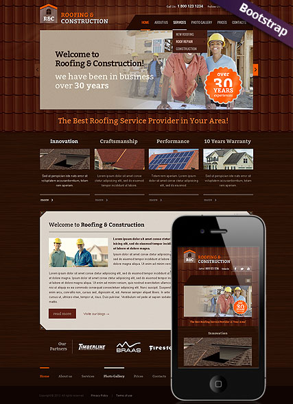 Roofing and construction web template