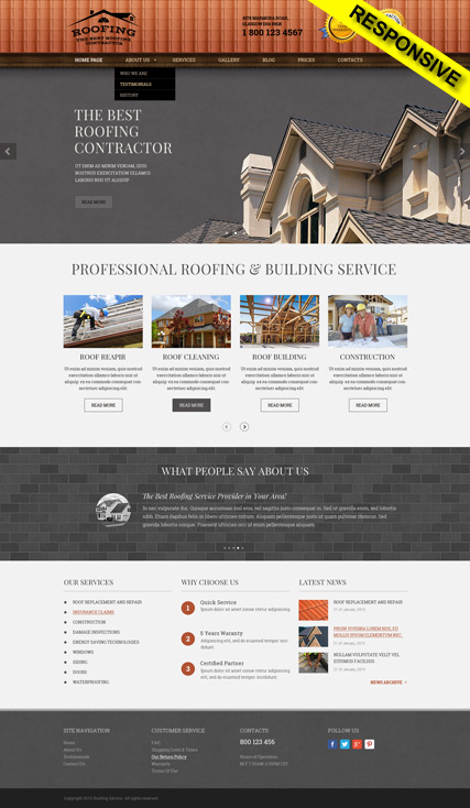 Roofing web template