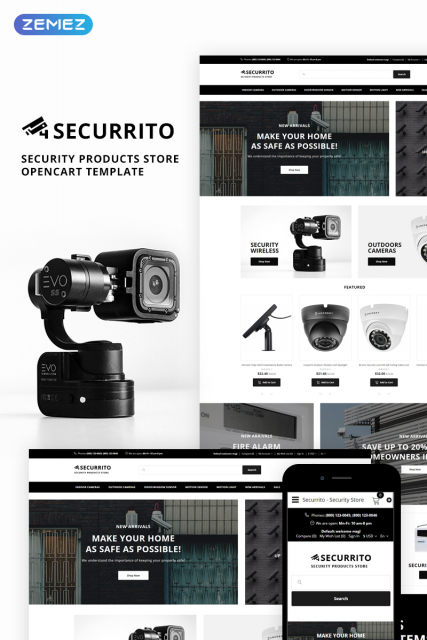 Securrito - Security Products Store OpenCart Template