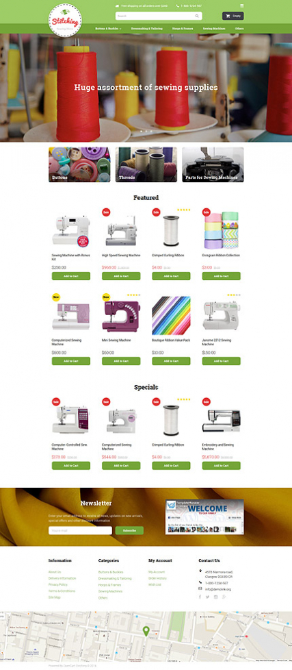 Sewing Store OpenCart Template