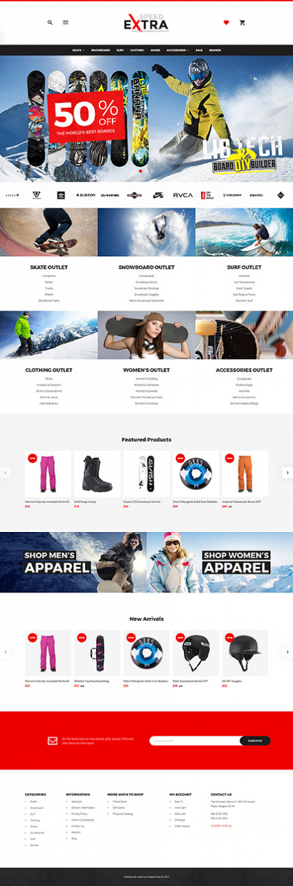 Snowboarding Responsive OpenCart Template