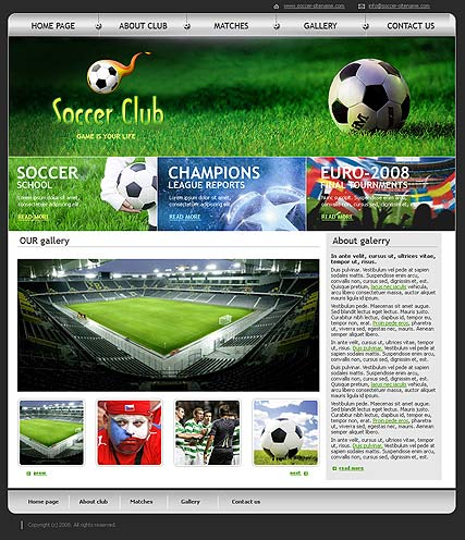 Soccer club web template