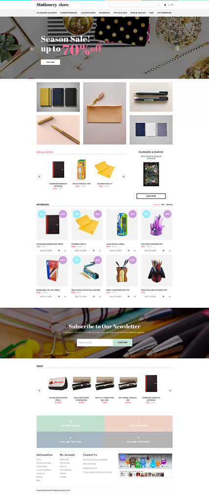 Stationery Store Stationery Responsive Opencart Template