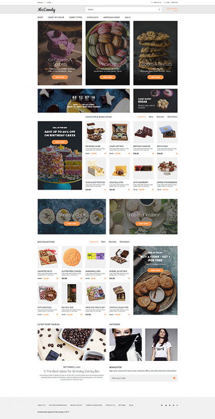 """Sweet Shop"" Candy OpenCart Template"