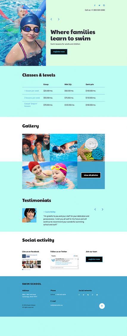 Swimming School Responsive Landing Page Template