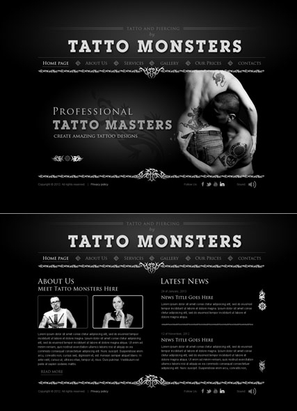 Tatto and piercing web template