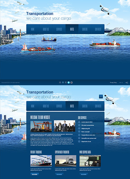 Transportation Paralax web template