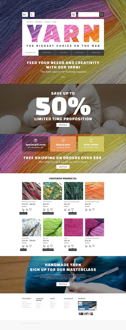 Yarn Online Store OpenCart Template